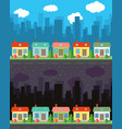 city with four one-story cartoon houses vector image