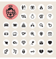 Valentines day and wedding icons set vector image