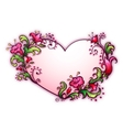 with heart and cartoon flowers vector image