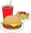 hamburger and fries vector image vector image