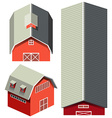 Red barn in different angles vector image
