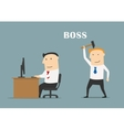 Executive boss with hummer ready to beat clerk vector image