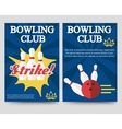 Bowling brochure flyer template set vector image