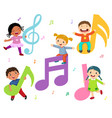 Cartoon kids with music notes vector image
