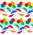 Colored umbrellas with rainy weather vector image