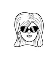 Line cute woman face with hairstyle and sunglasses vector image