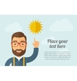 Man pointing the sun icon vector image