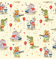 seamless animals band pattern decor cute doodle vector image