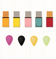 Set of colored nail polishes and sponges on white vector image