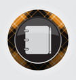 orange black button tartan - notepad and pencil vector image