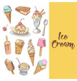 ice cream hand drawn menu with chocolate vector image