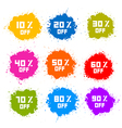 Colorful Discount Labels Stains Splashes vector image vector image