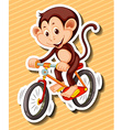 Little monkey riding bicycle vector image vector image