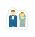 stylish paper sticker on white background bride vector image