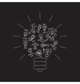 Black bulb creative lines symbol of ideas object vector image