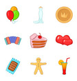 Betrothal icons set cartoon style vector image