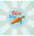 Deep diving ocean turtle Retro background vector image