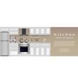 modern kitchen interior banner housewife vector image
