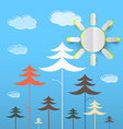 Trees Cartoon Forest with Clouds on Blue vector image
