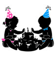 silhouette baby twins with birthday cake with vector image vector image