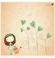 Valentine card with cute little girl vector image