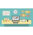 Office workspace interior flat vector image