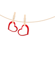 hearts clothespins 01 vector image