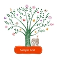 Easter greeting card with tree vector image vector image