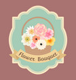 pastel colorful flowers bouquet in basket with vector image