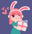 Cute Bunny Girl Holding a Present vector image