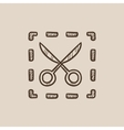 Scissors with dotted lines sketch icon vector image