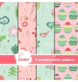 Collection of seamless patterns with stylized cute vector image vector image