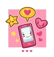 Kawaii mobile phone lovely card Doodles with vector image