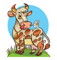 cute cow on meadow vector image