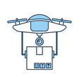 drone flying technology with box carton vector image