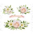 flower bouquet design object element set peach vector image