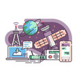 space satellite for communication internet vector image