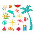 summer hand drawn beach icon element set vector image vector image