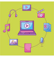 laptop video movie music social media multimedia vector image