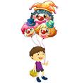 A boy carrying three clown balloons vector image