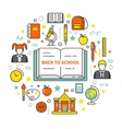 Back to School Line Art Thin Icons Set vector image