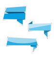 blue ribbon banner paper stickers with shadows vector image
