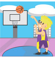 boy play basketball character design cartoon art vector image
