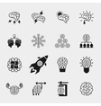 Brainstorming black icons set Creative brain idea vector image