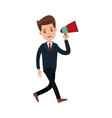 businessman character holding speaker advertising vector image