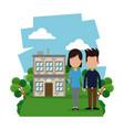 Couple modern house garden vector image