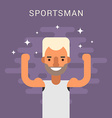 Happy Male Cartoon Character Sportsman Flat Design vector image