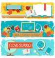 Horizontal banners with an of school objects vector image