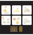 icons eggs yolks white eggshells oat porridge vector image