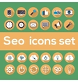 Seo icons set with longshadow vector image